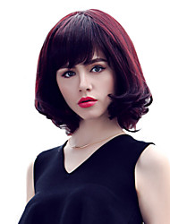 cheap -Stylish Medium Length Wavy Hair Remy Human Hair hand Tied Top Bob Woman's wig