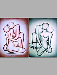 cheap -Handpainted Abstract Nude Oil Paintings Hotel Decor 2 Piece/Set Wall Art with Stretched Frame Ready To Hang