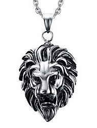 cheap -Men's Lion Animal Personalized Punk Pendant Necklace Pendant Titanium Steel Pendant Necklace Pendant , Party Daily Casual
