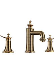 baratos -Clássica Difundido Cascata Válvula Cerâmica Duas alças de um furo Rosa Dourado, Torneira pia do banheiro