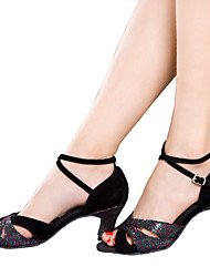 cheap -Women's Dance Shoes Latin Velvet / Sparkling Glitter / Paillette / Taffeta / Synthetic Cuban HeelBlack / Blue / Silver /