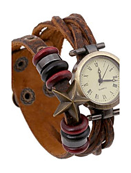 Damen Modeuhr Armband-Uhr digital Leder Band Böhmische Braun