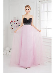 Ball Gown Sweetheart Floor Length Tulle Prom Formal Evening Dress with Beading Side Draping by SGSD