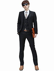 cheap -Men's Long Sleeve Regular Blazer+Pant+Vest+Shirt Set,Cotton / Polyester Solid 916190