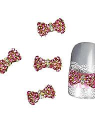 preiswerte -10pcs rosa Strass Fliege Legierung Zubehör Fingerspitzen Nagelkunstdekoration