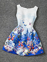 cheap -Girl's Blue Dress,Print Polyester Summer
