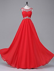 A-Line Scoop Neck Floor Length Chiffon Stretch Satin Formal Evening Dress with Beading Draping by TS Couture®