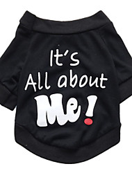 billige -Kat Hund T-shirt Hundetøj Bogstav & Nummer Sort Bomuld Kostume For kæledyr Herre Dame Sødt Mode