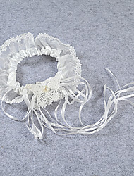 Garter Stretch Satin / Lace Flower / Ribbons / Beading Ivory