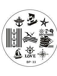 Недорогие -рожденные красивые моряки& море парусные bp33 тема ногтей штамп шаблон плиты изображения