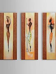 Dipinta a mano Astratto / Paesaggi / Ritratti / Ritratti astratti Dipinti ad olio,Modern / Classico / Stile europeo Tre Pannelli Tela