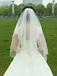 cheap -Two-tier Beaded Edge Wedding Veil Fingertip Veils 53 Ruched Tulle