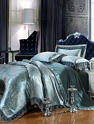 Good Fabric Queen King Size Bedding Set Luxury Silk Cotton Blend Lace Duvet Cover Sets Jacquard Pattern