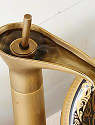 abordables -Antique Set de centre Cascade with  Valve en céramique Mitigeur un trou for  Bronze antique , Robinet lavabo