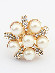 Simple Imitation Pearl 18K Rose Gold Plated Ring For Girl Women Party Wedding Jewelry Top Quality