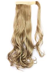 abordables -oro longitud 45 cm de la nueva cola de caballo rizada peluca de velcro (color marrón claro)