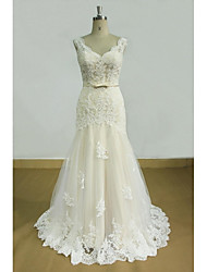 cheap -Sheath / Column V-neck Sweep / Brush Train Tulle Wedding Dress with Appliques by LAN TING BRIDE®