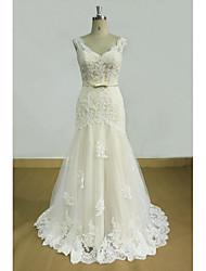economico -Vestito da cerimonia nuziale del tulle del treno della spazzata del v-collo / colonna del v-collo con i appliques di lan ting bride®