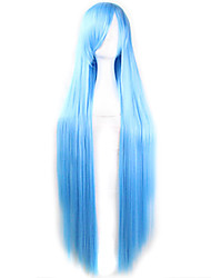 cheap -Synthetic Wig Straight Asymmetrical Haircut Synthetic Hair Natural Hairline Blue Wig Women's Long Capless Light Blue