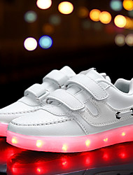 Girl's Athletic Shoes Spring Summer Fall Winter Comfort Light Up Shoes PU Outdoor Casual Athletic Flat Heel Buckle LED