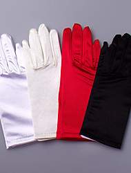 cheap -Polyester Satin Elastic Satin Wrist Length Glove Classical Bridal Gloves Party/ Evening Gloves With Solid