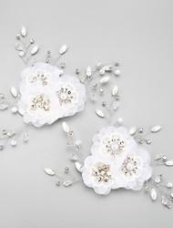 Mulheres Menina das Flores Strass Liga Chifon Capacete-Casamento Ocasião Especial Flores 2 Peças