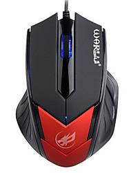 topi lupo guerra 3d wired mouse da gioco di luce 1000dpi retroilluminato respirazione per lol / cf / DOTA nero / rosso / blu