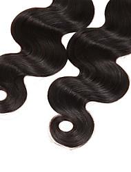 Недорогие -Натуральные волосы Перуанские волосы Человека ткет Волосы Естественные кудри Наращивание волос 3 предмета Черный Черный Естественный цвет