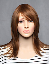 Capless Brown Color Middle Length High Quality Natural Straight Synthetic Wigs