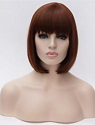 abordables -Pelucas sintéticas Recto / Liso Natural Corte Bob / Con flequillo Pelo sintético Entradas Naturales Marrón Oscuro Peluca Mujer Corta Sin Tapa