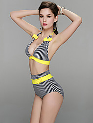 Mulheres Biquíni Cintura-Alta / Retro Nadador Nylon / Elastano Mulheres