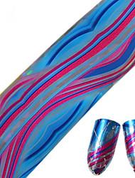 1pcs 100 * 4cm Nagelkunst Transfer Glitter Aufkleber DIY geometrische bunte Welle Linie cs13-16 rundes Bild Nagelkunstentwurf