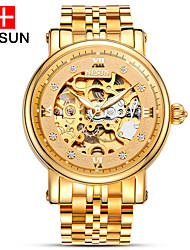 cheap -nesun Men's Skeleton Watch Hollow Engraving Stainless Steel Band Charm Gold / Automatic self-winding