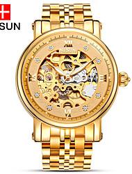 Недорогие -nesun Муж. Часы со скелетом С гравировкой Нержавеющая сталь Группа Кулоны Золотистый / С автоподзаводом