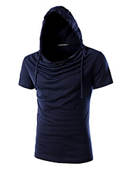 cheap -Men's Fashion Personality Slim Hooded Short Sleeved T-Shirt,Cotton / Spandex Casual / Plus Sizes Solid