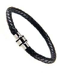 cheap -Cool Man  Leather Bracelets With Stainless Steel Charm Design Bangles for Men
