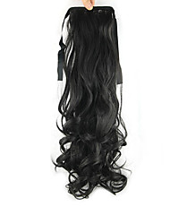 cheap -Clip In Wavy Curly Ponytails Tie Up Hair Piece Hair Extension 22 inch Black