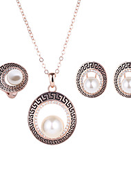 cheap -Women's Jewelry Set - Imitation Pearl, Rhinestone, Rose Gold Plated Include Golden For Wedding / Party / Daily / Rings / Earrings / Necklace
