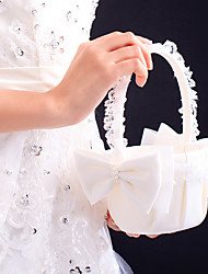 "cheap -Flower Basket Satin Lace 8 3/5"" (22 cm) Faux Pearl Bow 1 Wedding Ceremony"