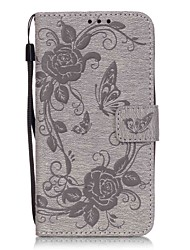 cheap -Butterfly Flower Color Double-sided Embossed Card Holder Lanyard PU Phone Case for Galaxy Grand Prime G530/J5(2016)