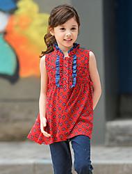 Mädchen Hemd-Lässig/Alltäglich Druck Polyester Sommer Rot
