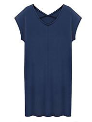 Недорогие -Для женщин На каждый день Большие размеры Уличный стиль Облегающий силуэт Прямое Платье Однотонный,V-образный вырез Выше коленаС