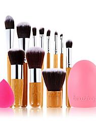 11pc manico di bambù e il nylon capelli pennello trucco cosmetico set + pulizia delle uova e le piccole dimensioni spugna trucco