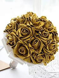 Недорогие -Свадебные цветы Круглый Розы Букеты Свадьба Партия / Вечерняя Атлас Поролон Хрусталь Стразы 26 см