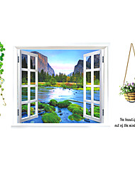 Window Landscape Scenery Wall Stickers Living Room Bedroom Flower Wall Decals PVC Removable