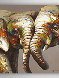 cheap -Hand Painted Oil Painting Animal Elephant Lovers with Stretched Frame