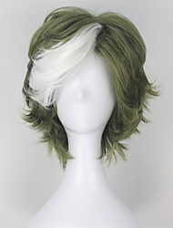 cheap -Cosplay Wigs Kabaneri Of The Iron Fortress Ikoma Green Short Anime Cosplay Wigs 32 CM Heat Resistant Fiber Male