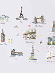 cheap -Travel Ten Buildings Landscape Wall Art Wall Stickers Removable DIY Bedroom Living Room Wall Decals