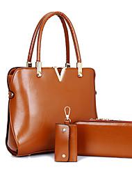 abordables -Mujer Bolsos PU Tote Conjuntos de Bolsa Cubierta 3 piezas de monedero conjunto para De Compras Casual Formal Oficina y carrera Todas las