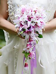 economico -Bouquet sposa Forma libera Cascata Gigli Bouquet Matrimonio Partito / sera Raso Seta